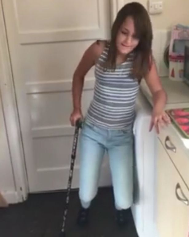 Unable to walk without the use of crutches.